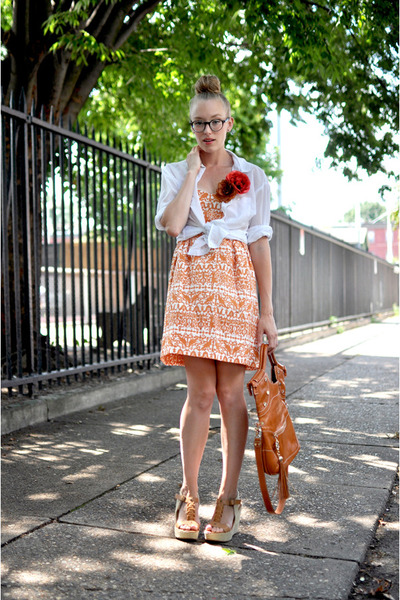 tawny foley  corinna bag - light orange burda style dress - white H&M blouse