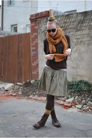 mustard Zara scarf - green Gap skirt - brown Steve Madden boots