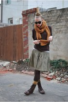 mustard Zara scarf - green Gap skirt - brown Steve Madden boots