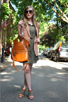 olive green 8020 wedges - olive green Jupe Boutique dress - peach H&M blazer