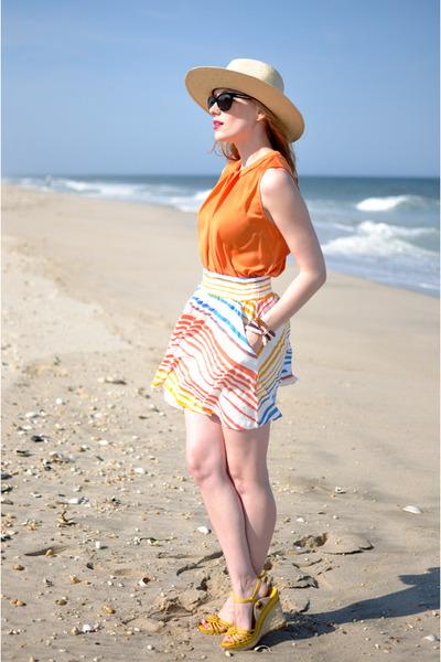 tan H&M hat - orange Zara blouse - white H&M skirt - yellow Wanted Shoes wedges