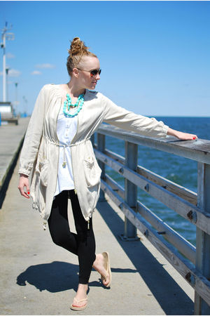 beige H&M jacket - white H&M shirt - blue Urban Outfitters necklace