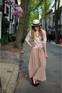 Tan-hat-attack-hat-light-pink-target-blouse-light-pink-american-apparel-skir