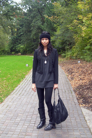 H&M hat - Zara jacket - calvin klein sweater - American Apparel pants - Zara boo