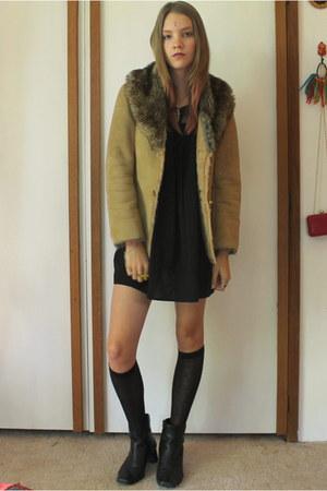 camel faux fur thrifted coat - black boots - black dress - black knee-high socks