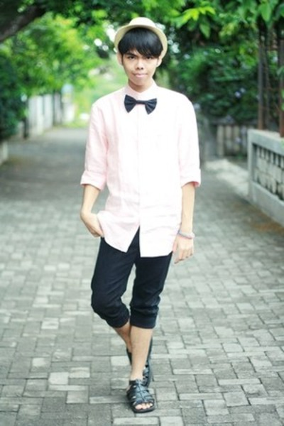 black black skinny jeans jacket - vintage hat - light pink Ronzaro shirt