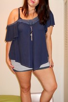 navy off shoulder American Eagle top - striped Gap intimate