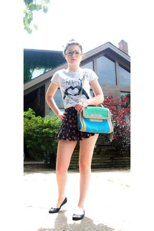 brown glasses - white fashion against aids t-shirt - blue Forever 21 skirt - bei