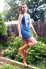 White-scarf-blue-dress-brown-bcbg-boots