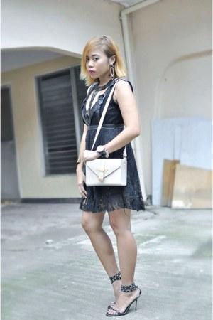 black Dorothy Perkins dress - light pink Topshop bag