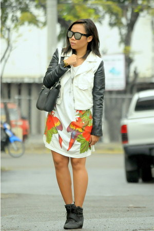 Nasty Gal jacket - romwe dress - Trussardi bag