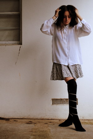 white button up vintage shirt - navy navy Knee high socks - navy floral vintage