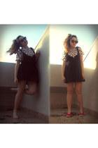 light pink heart print blouse - black Fox dress