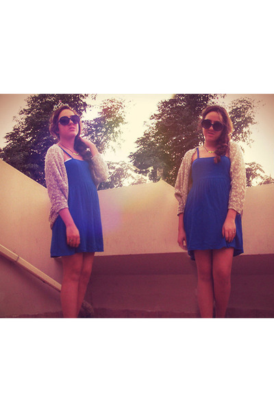 blue H&amp;M dress - knitted Bershka cardigan
