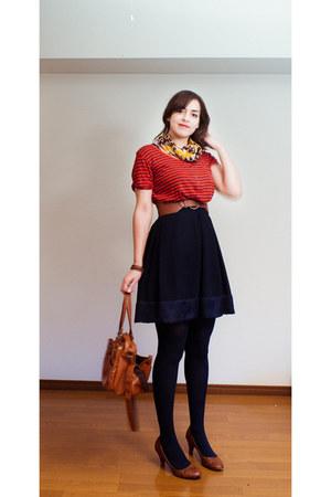 mustard scarf - tawny Forever 21 belt - navy skirt