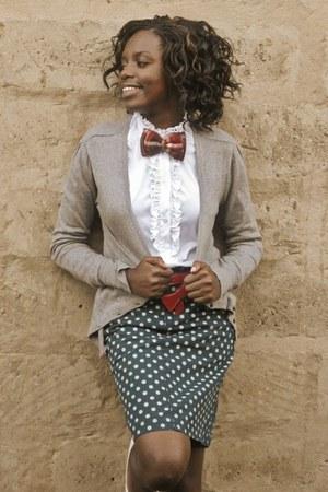 grey sweater - ruffled blouse - green polka dot skirt - red belt