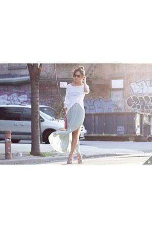 H&M skirt - nude high heels Alexander Wang shoes - eileen fisher sweater