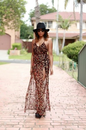 tie up platform unknown boots - sheer maxi For Love and Lemons dress