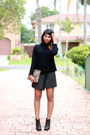 black ankle Miss Selfridge boots - tan clutch Clare Vivier bag