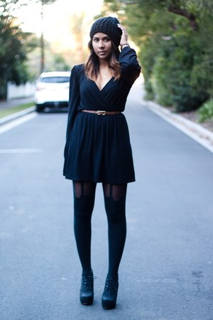 tie up thailand boots - wrap dress Boohoo dress - beanie Forever 21 hat