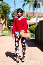 black floral H&M pants - red textured knit Table 8 sweater