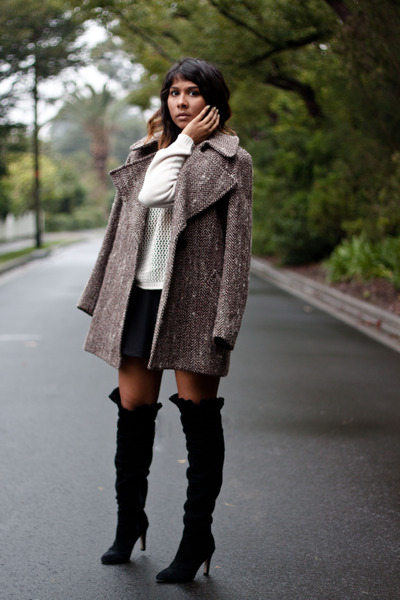 black knee high Kelsi Dagger boots - dark brown herringbone Karen Walker coat