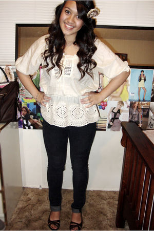 beige Forever 21 blouse - black Forever 21 jeans - brown seychelles shoes - acce
