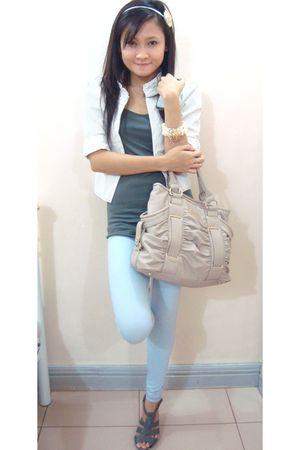 white mimi blazer - blue cotton on leggings - beige Charles & Keith purse - whit