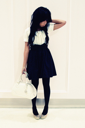 white Louis Vuitton bag - yellow Eko shoes - white bardot dress