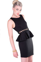 Black Laced Peplum Dress