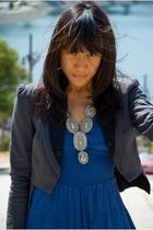 blue dress - gray blazer - black shoes - silver necklace