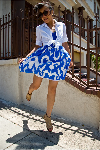 blue dress - white blouse - beige shoes