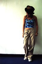 thrifted top - jordache pants - Converse shoes - thrifted hat
