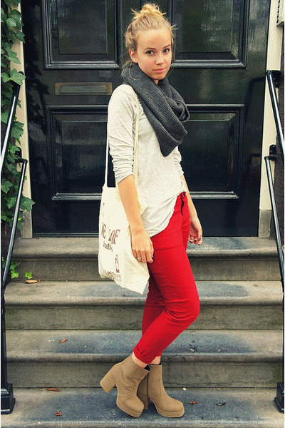 red Zara pants - dark khaki Monki boots - periwinkle Zara shirt