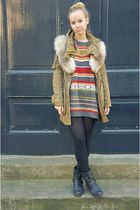 gray vintage jumper - black Primark boots - army green Zara coat