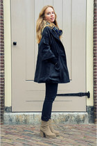 gray Kenzaa coat - dark khaki Monki boots - black Monki jeans - navy Monki scarf