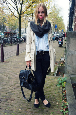 black H&amp;M jeans - cream Monki coat - gray Selected Femme scarf