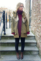 dark brown H&M boots - army green Zara coat - black American Apparel jeans