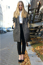 charcoal gray H&M coat - black Monki jeans - white American Apparel blouse