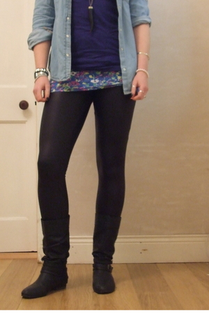 blue Primark shirt - black Primark leggings - blue Primark t-shirt - black Dunne