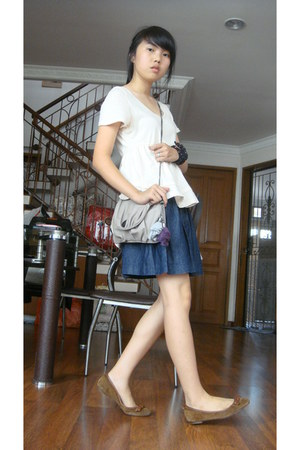 Zara bag - Massimo Dutti flats - cotton on blouse