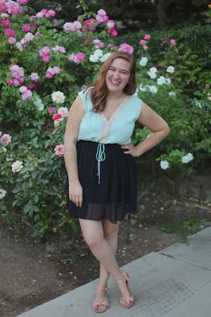 mint free people top - black romwe skirt - peach modcloth sandals