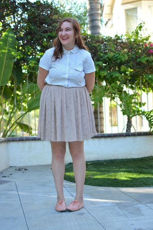 J Crew top - tan Darling skirt - oxford Urban Outfitters flats