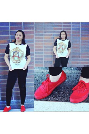 white cotton top - black velvet leggings - red sneakers