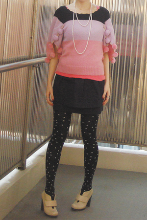 sweater - H&amp;M skirt - tights - - necklace