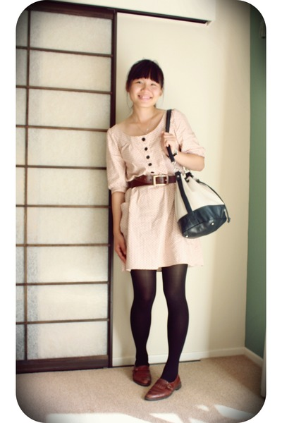 pink Point Zero dress - brown shoes - beige MNG accessories - brown belt