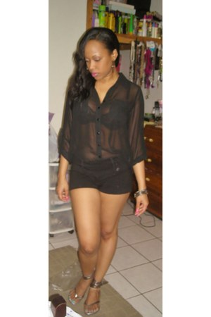 black shorts - black sheer blouse