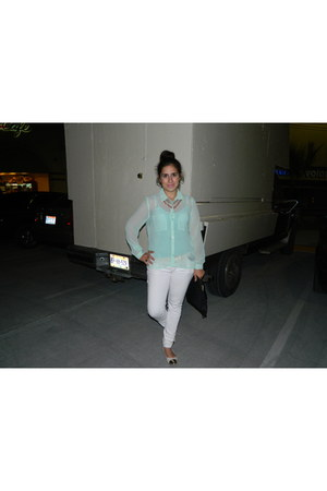 light blue sheer Forever 21 blouse - white jeans