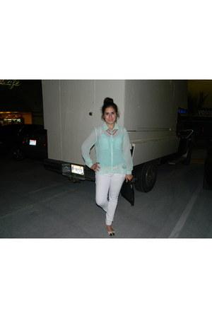 light blue sheer Forever 21 blouse - white jeans