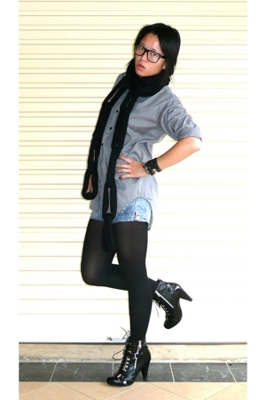 alice in the eve shirt - Dangerfield scarf - Valleygirl shorts - kayser stocking